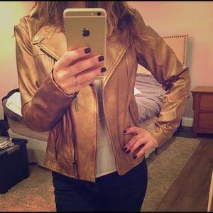 Gold tone Michael Kors faux leather moto jacket